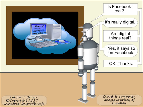 Two robots are wondering whether Facebook is real.