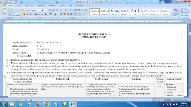 Contoh Format Silabus PJOK K13 Kelas 4 SD Semester 2 Revisi Terbaru
