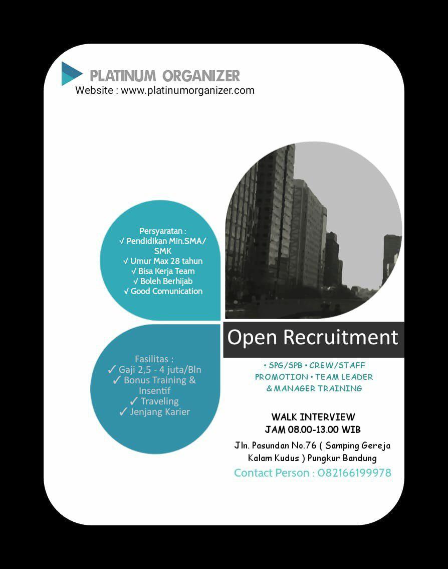Lowongan Kerja Platinum Organizer Bandung Juli 2019
