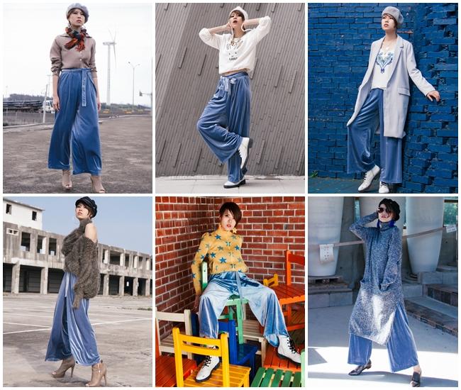 天鵝絨崛起:買一件就可以穿夠本的GU藍絲絨寬褲Look×7【看宣娜】