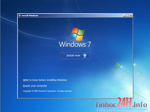 cài đặt windows 7 - install now