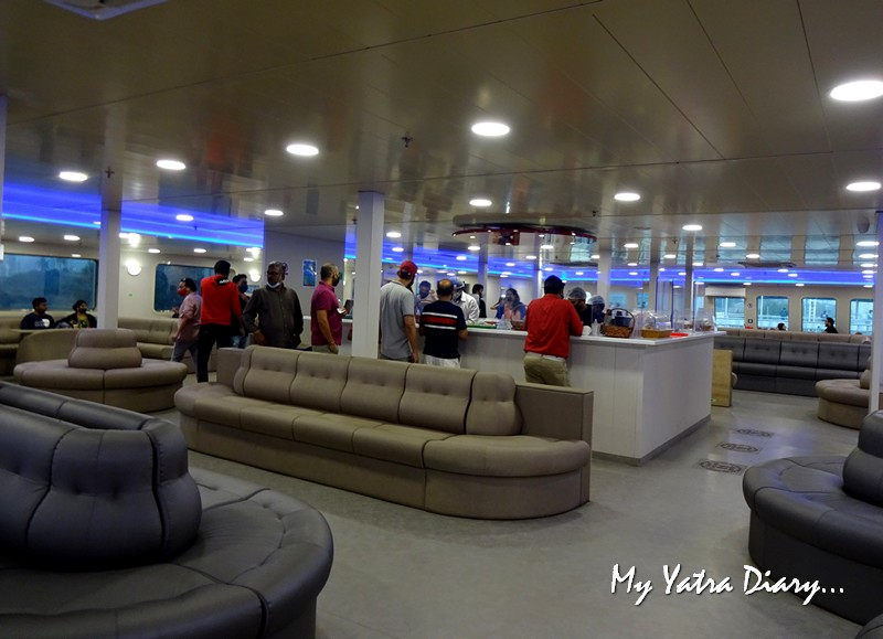 Luxury Cafetaria in the M2M ferry from Mumbai to Alibagh