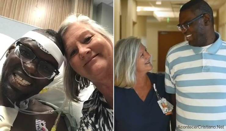 Enfermera ayuda a hombre sin hogar