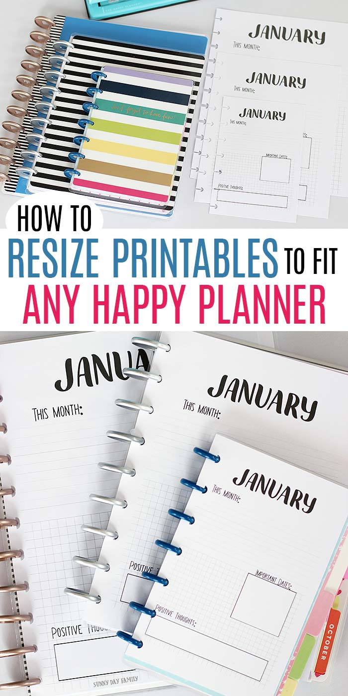 Resize any printable to fit a Classic Happy Planner, Mini Happy Planner, or any custom size with this super simple trick! Customizing your Happy Planner with printables has never been easier. #happyplanner #planner #printables #plannerpages #plannerorganization