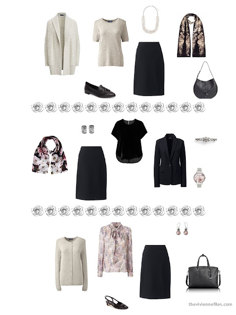 3 ways to wear a black skirt from a dressy 4 by 4 Wardrobe in black, taupe and pink