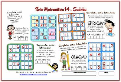 Sudoku, Letrasdoku, Sudoku 2x3, Sudoku con letras, Retos Matemáticos, Desafíos matemáticos, Problemas matemáticos