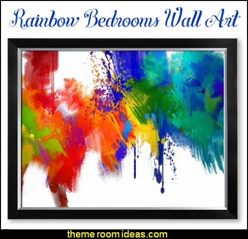 rainbow Colorful Paint Abstract Wall Art rainbow bedroom wall art