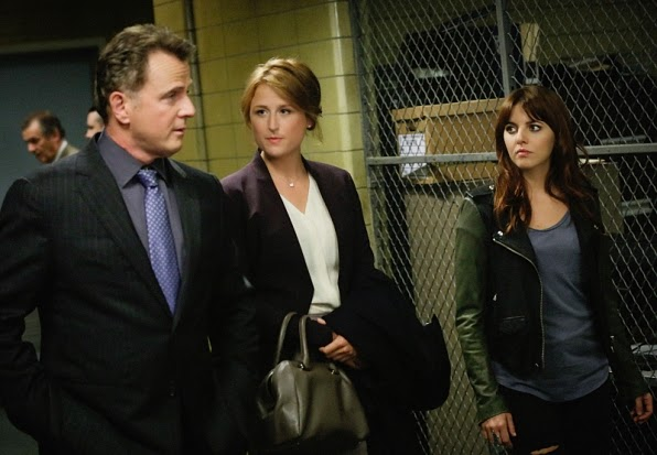Elementary guest star Mamie Gummer as Margaret Bray with Aidan Quinn and Ophelia Lovibond in Elementary Season 3 Episode 6 Terra Pericolosa