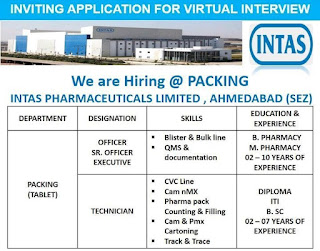 ITI/ Diploma/B.Sc and B. Pharmacy/ M. Pharmacy Jobs Vacancy Walk In Interview For Intas Pharmaceuticals Limited, Ahmedabad