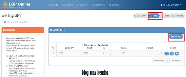 Tampilan Laman E-Filing SPT - Blog Mas Hendra