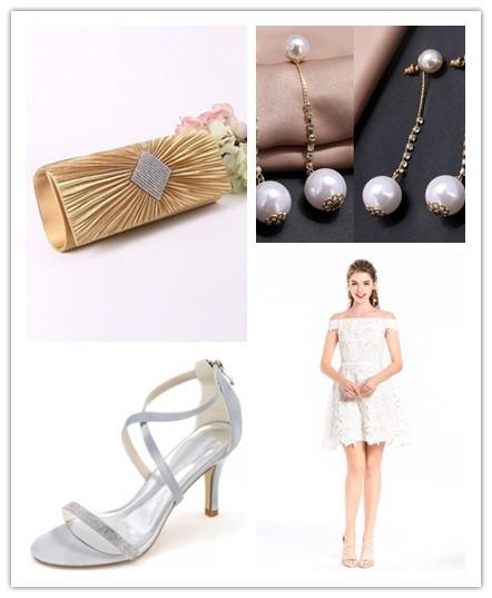 Accessoires pour petite robe blanche de soirée en dentelle