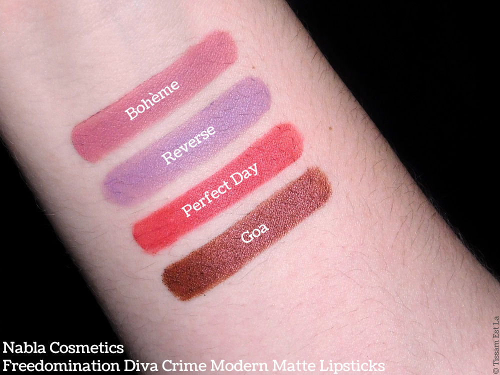 Nabla Cosmetics - Freedomination Diva Crime Modern Matte Lipsticks - Perfect Day - Goa - Bohème - Reverse - Swatches & Review - Revue et Avis - Swatch