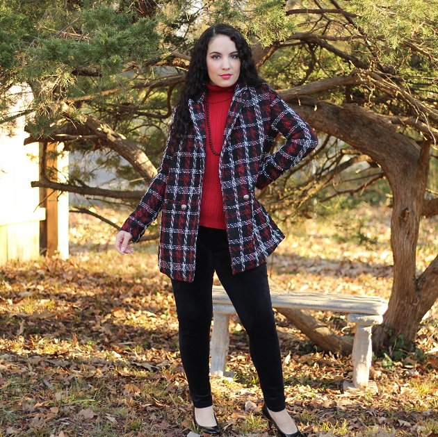 SHEIN Red and Black Plaid Jacket