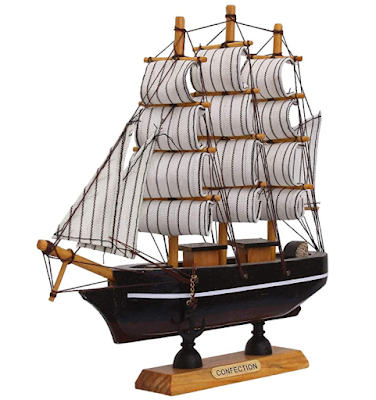 JaipurCrafts Antique Lucky Decorative Wooden Sailing Ship Showpiece for Office Home Decoration