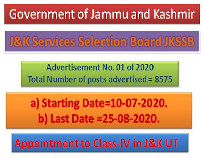 J&K Services Selection Board (JKSSB) Recruitment 2020.  8575 Class-IV posts in J&K UT