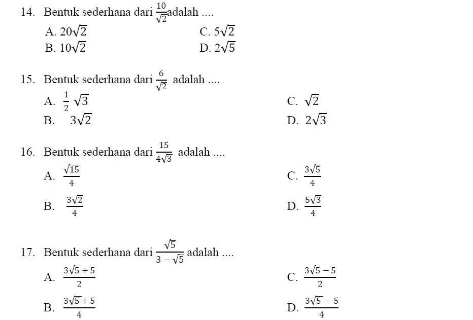 Contoh Soal Bilangan Berpangkat Dan Bentuk Akar Kelas 9
