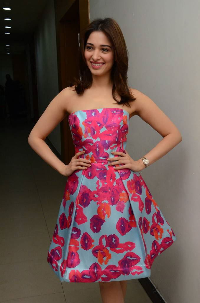 Tamanna Stills At Movie Interview In Pink Skirt