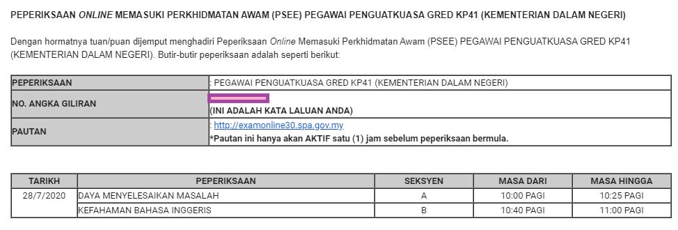 Peperiksaan Online Memasuki Perkhidmatan Awam Psee Pegawai Penguatkuasa Gred Kp41