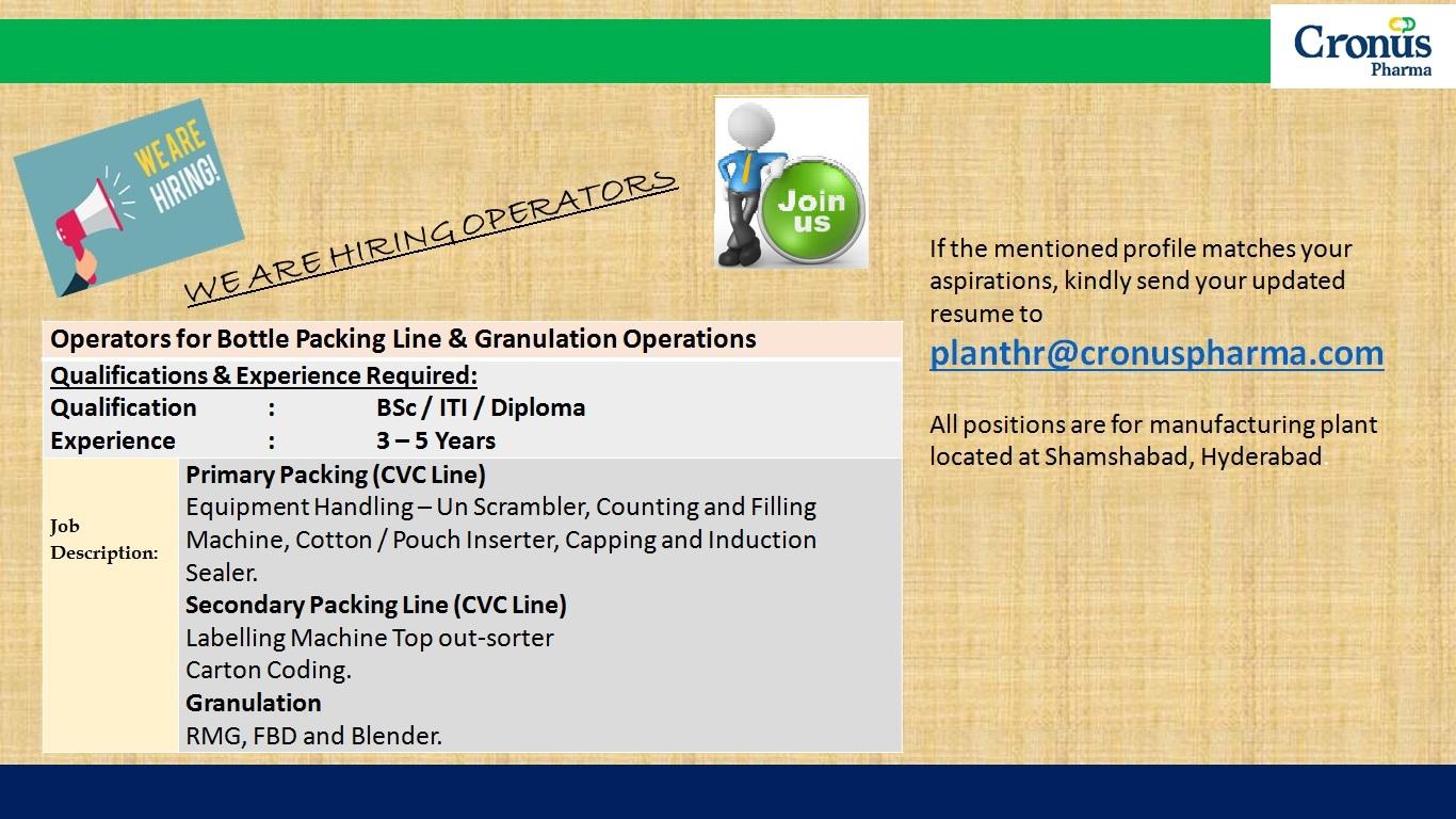 Urgently Vacancy at Cronus Pharma
