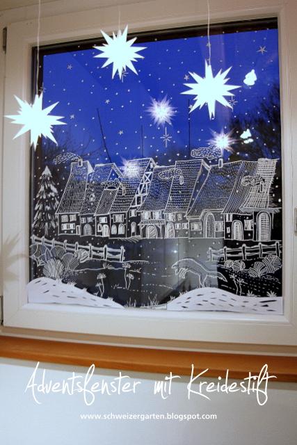 Ein schweizer garten: das adventsfenster   fensterdeko mit kreidestift