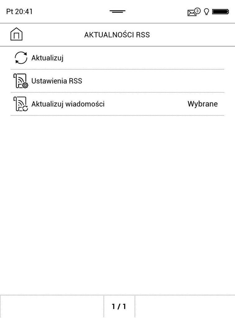 Aplikacja Aktualności RSS w PocketBook Touch HD 3