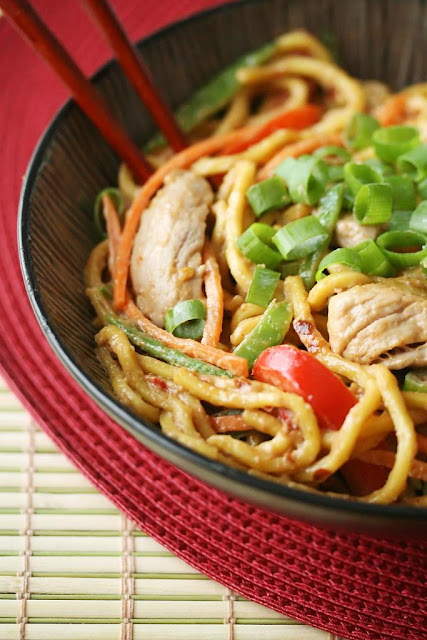 Spicy Peanut Butter Noodles with Pork | Crumb Blog
