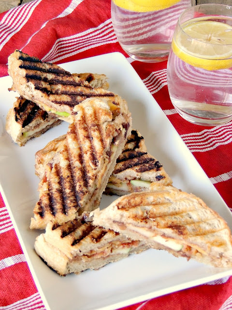 Bacon, Cheddar, and Apple Panini Bites - Salty, crunchy, tangy, and sweet, this panini has it all! From www.bobbiskozykitchen.com