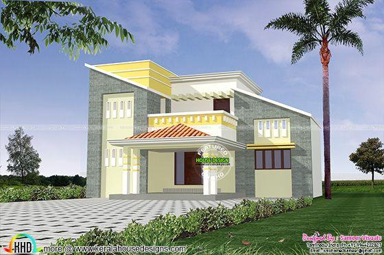 Modern slanting roof house