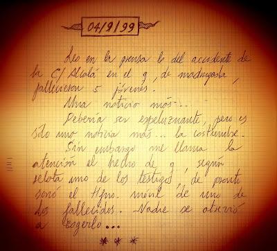 Anotación manuscrita en uno de mis cuadernos