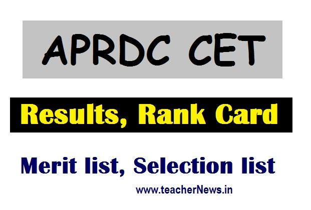 APRDC Results 2020 | APRDC CET Results BSc Rank Cards Download BA Merit list B.Com Selection list