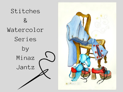 Stitches & Watercolor Series by Minaz Jantz