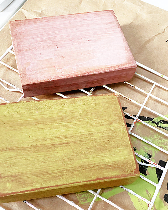 pink and green stained blocks