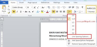 Cara mengatur jarak antar Baris di Microsoft word, Gampang banget.