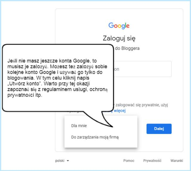 Tworzenie konta Google.