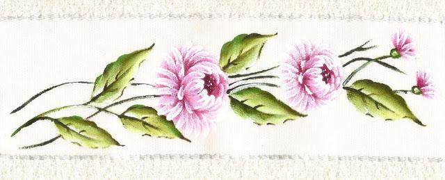 pintura em tecido toalha de banho flores crisantemos