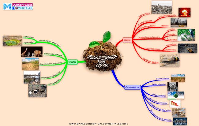 Mapa mental de la contaminación del suelo, causas y consecuencias para niños y adultos y cualquier nivel de educación