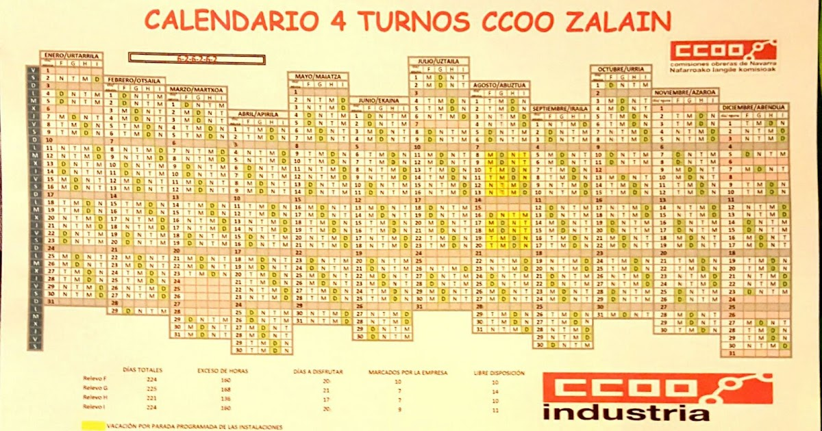 Calendario Turnos.Ccoo Zalain Calendario 4 Turnos Para El 2016