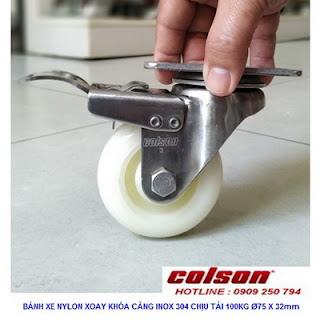 Bánh xe nhựa có khóa càng inox 3 inch Colson | 2-3356SS-254-BRK4 www.banhxedayhang.net