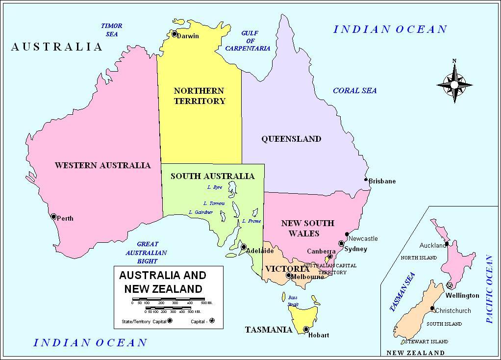 map to australia