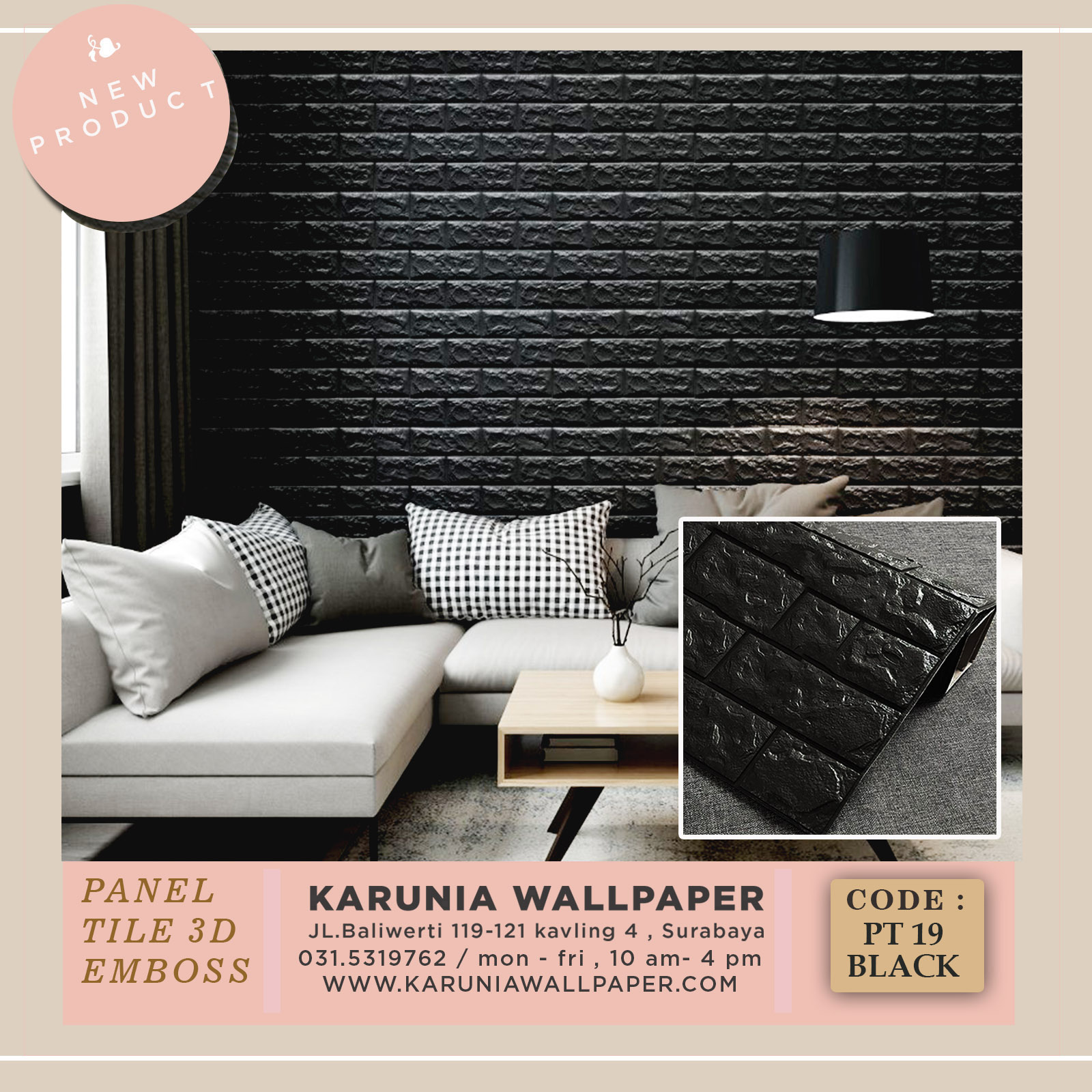 jual wallpaper batu bata hitam