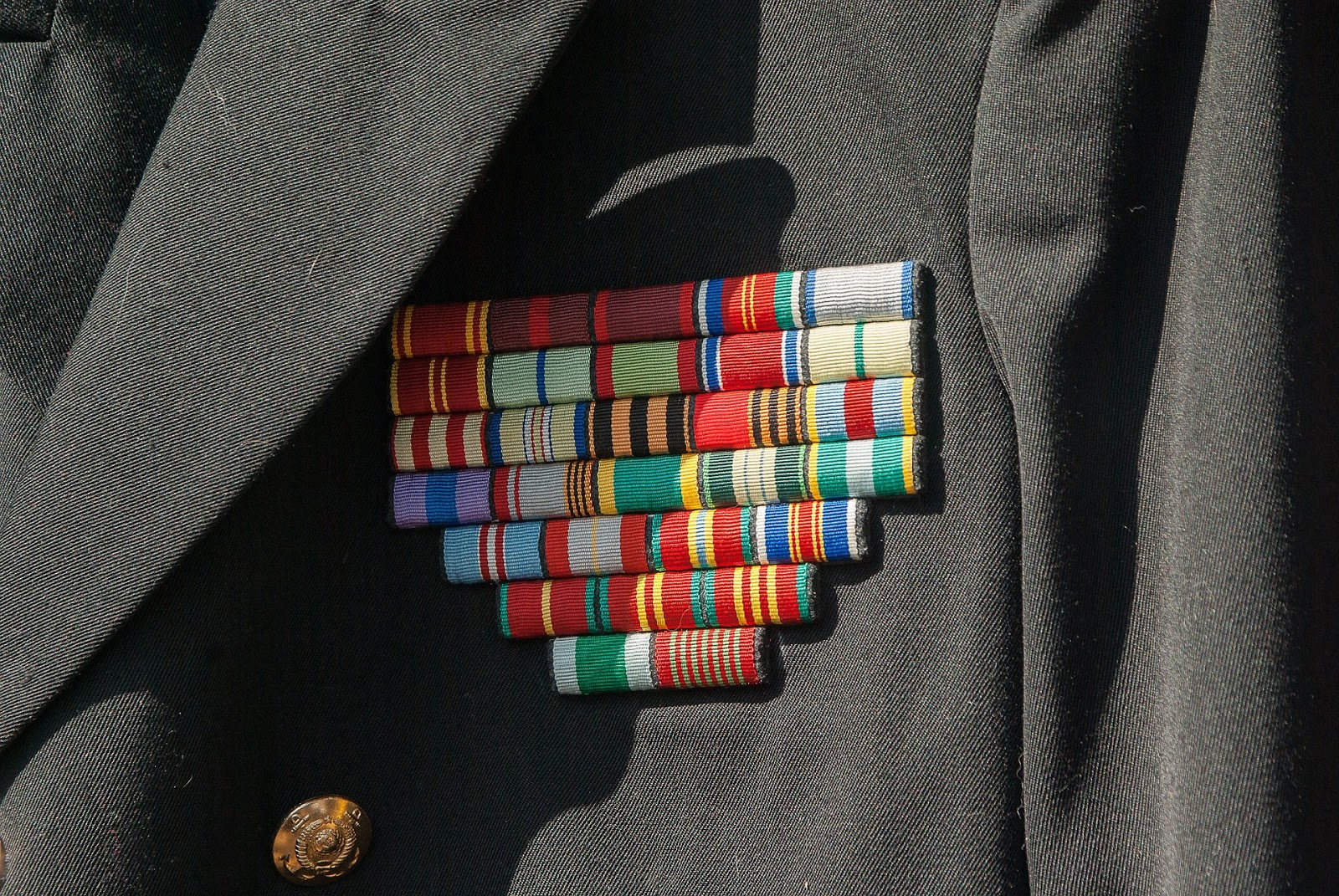 close up of army uniform with several medals and ribbons for blog post about stolen valor