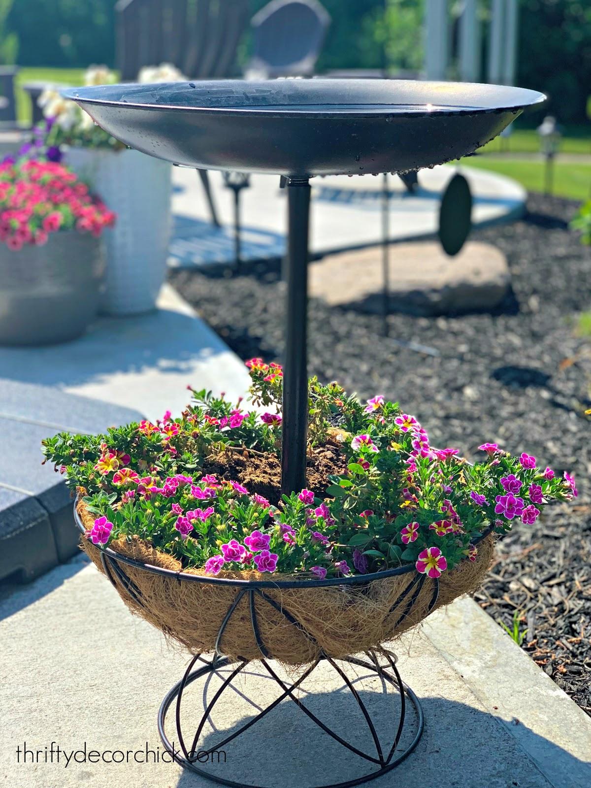 Bird bath with planter