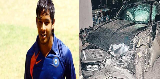 क्रिकेटर अक्षदीप की लग्जरी कार अनियंत्रित होकर दो कारों को टक्कर मारते हुए डिवाइडर से टकरायी
