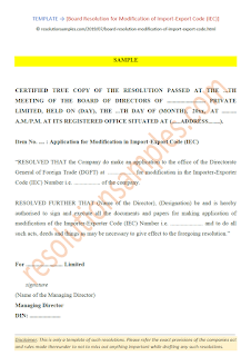 board resolution for modification of import export code iec