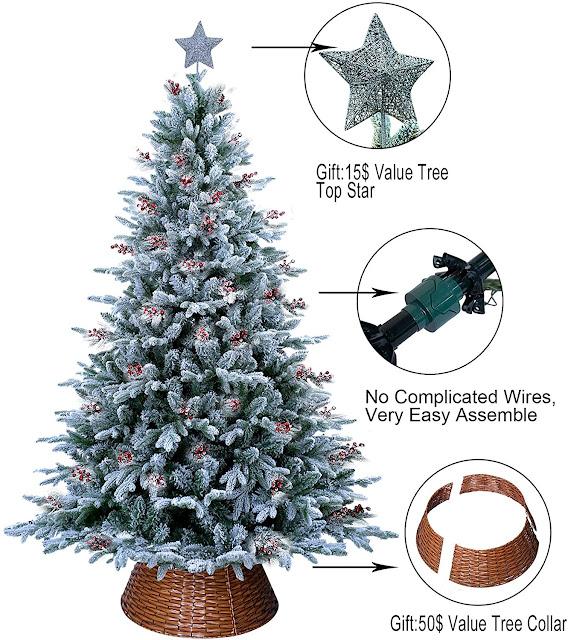 prelit artificial Christmas tree wicker tree collar