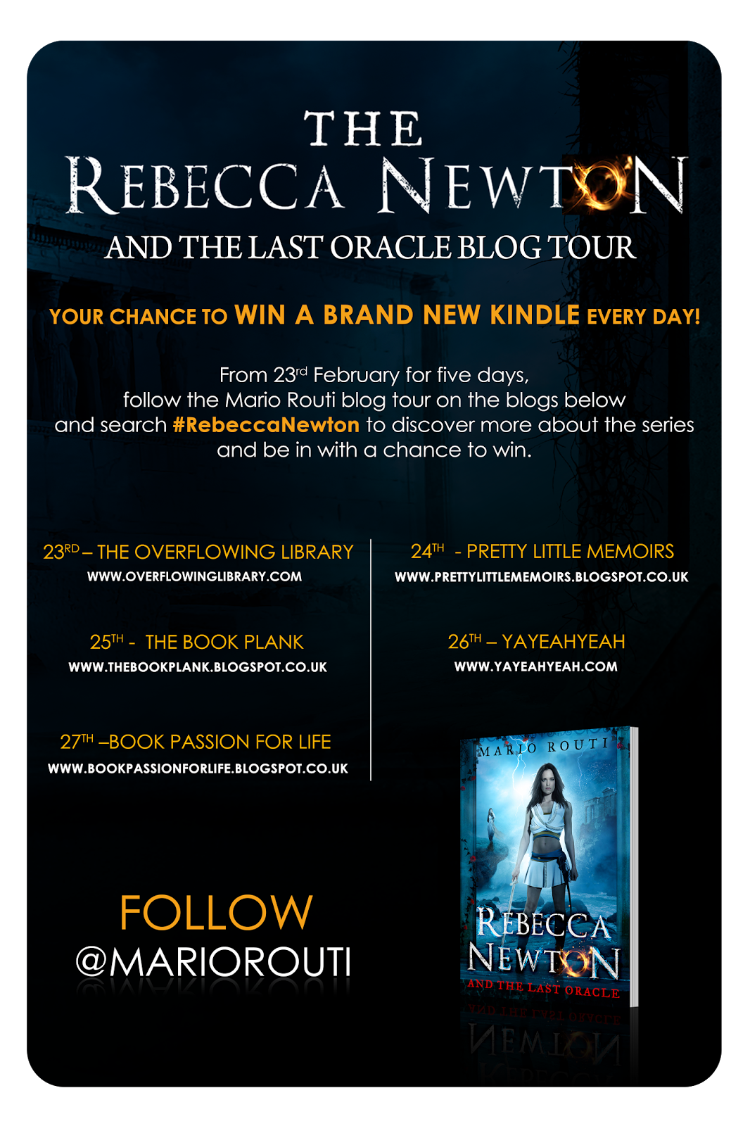"Blog Tour: ""Rebecca Newton and The Last Oracle"" by Mario Routi {Win a KINDLE!}"