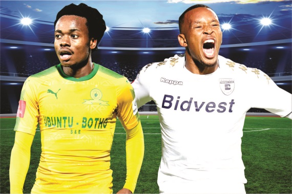 Percy Tau of Mamelodi Sundowns and Lehlohonolo Majoro of Bidvest Wits