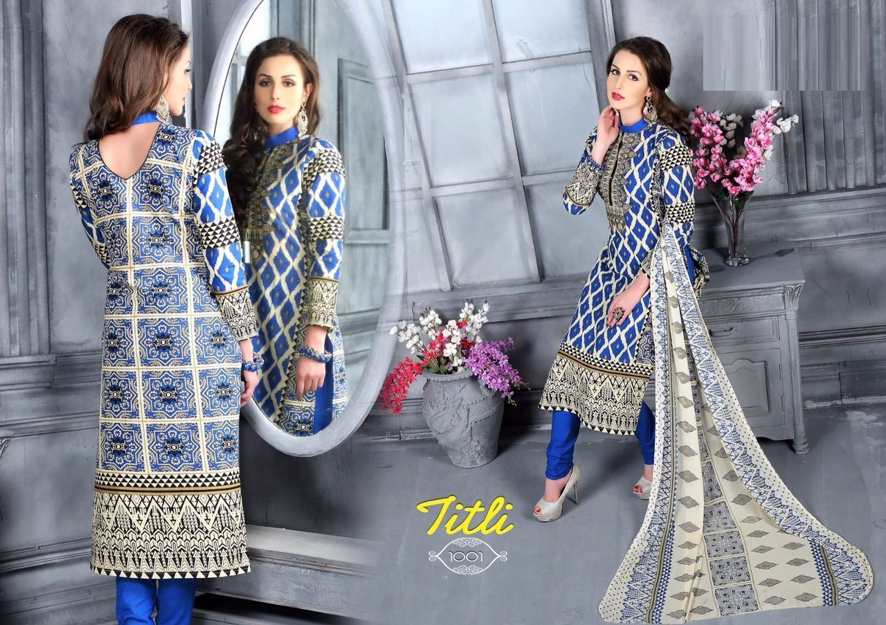 Titli-Heavy Stylish Fancy Multi color Cotton Dress Material