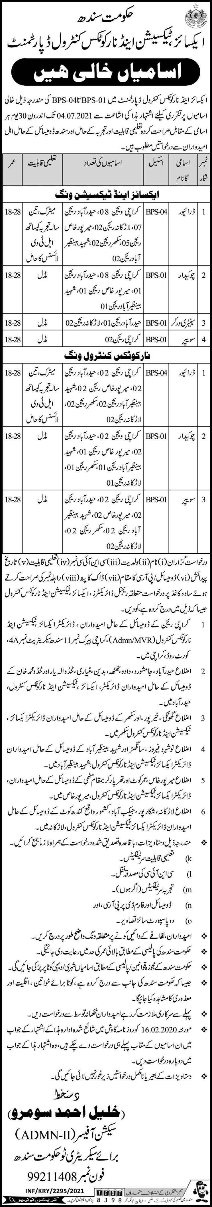 Excise Taxation & Narcotics Control Department Jobs Sindh Karachi 2021