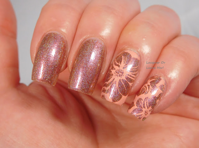 UberChic Beauty plate 15-01 over Girly Bits All Bronze No Brains, stamped with Girly Bits Coral Reef